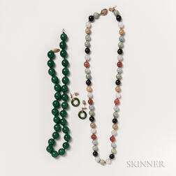 Two Hardstone Bead Necklaces and a Pair of Hardstone Earrings