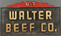 """Painted Tin and Carved and Painted Wood """"WALTER BEEF CO."""" Sign"""