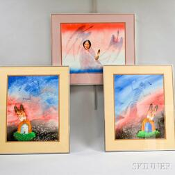 Three Framed Ray Yazzie Watercolors