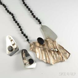 Avi Soffer Sterling Silver and Onyx Suite