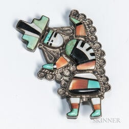Zuni Inlay Rainbow Man Pin