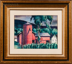 Sandor Bernath (American, 1892-1984)    Red Barn and Silo