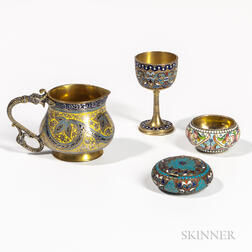 Three Pieces of Russian Silver and Cloisonne-enameled Tableware