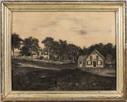 American School, 19th Century      Country Road with C.W. Wilder & Son Shop and House with Picket Fence