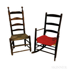 Black-painted Ladder-back Armed Rocking Chair and a Side Chair.     Estimate $200-300