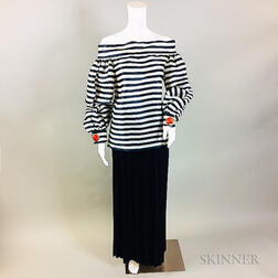 Oscar de la Renta Navy and White Striped Shirt and Navy Skirt