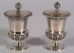 Pair of Chinese Export Silver Pepper Pots