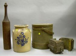 Group of Country Woodenware and Stoneware
