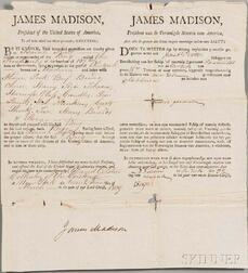 Madison, James (1751-1863) Ship's Papers Signed, 22 March 1809.