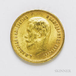 1902 Russian 10 Rouble Gold Coin, KM-Y64