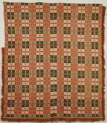 Rust and Green Woven Coverlet