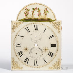 Painted and Gilt-decorated Wooden Clock Face