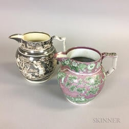 Two Lustre Transfer-decorated Ceramic Hunt Jugs