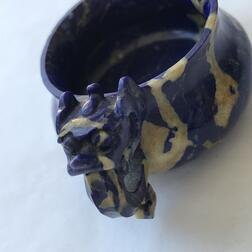 Miniature Stone Censer with Dragon Handles