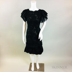 Oscar de la Renta Black Silk and Lace Cocktail Dress