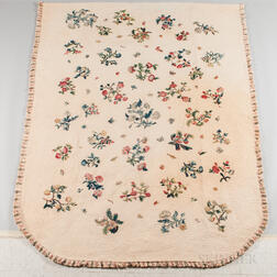 Large Crewel Embroidered and Quilted Bedspread