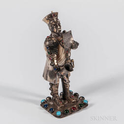 German Silver-mounted Shell Figure