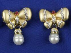 18kt Gold and Gem-set Butterfly Earrings