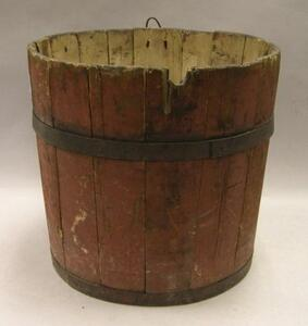 Red Painted Wooden Bucket.