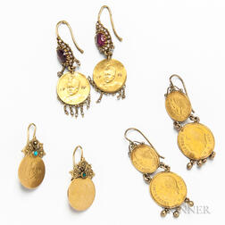 Three Pairs of Gold Coin Earrings