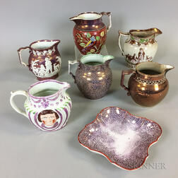 Six Pink Lustre Ceramic Jugs and a Shaped Dish
