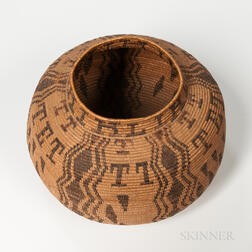 Southern California Polychrome Basketry Jar