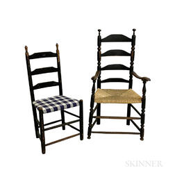 Two Turned and Black-painted Ladder-back Chairs