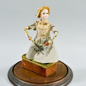 Bisque Automaton of a Girl with Flowers Under a Glass Dome