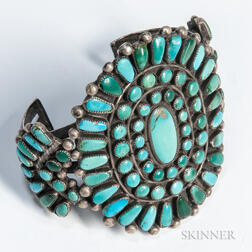 Zuni Silver and Turquoise Cluster Bracelet