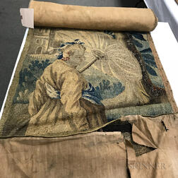 Large Woven Tapestry Fragment Depicting a Woman Walking a Dog