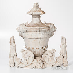Carved and White-painted Urn and Brackets