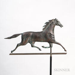 Sheet Copper and Cast Zinc Running Horse Weathervane