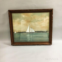 Framed Hand-colored Photograph of a Harbor