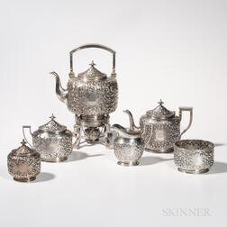 Six-piece Kennard & Jenks Sterling Silver Tea Service