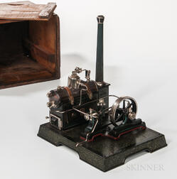 Early Marklin Model Steam Engine on Platform with Original Box