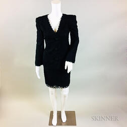 Oscar de la Renta Black Silk Suit with Black Lace Overlay