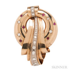 Retro 14kt Gold, Ruby, and Diamond Brooch