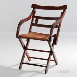 Walnut Folding Campaign Chair