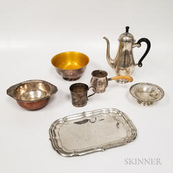 Five Pieces of Sterling Silver Tableware and Two Silver-plated Bowls