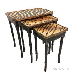 Set of Three Faux Animal Hide Nesting Tables