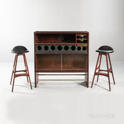 Poul Heltborg Rosewood Bar and Two Erik Buch Stools