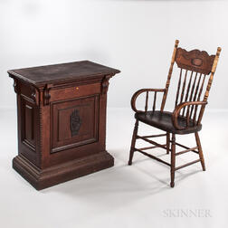 Oak Odd Fellow Desk with Heart and Hand Decoration and a Pressed-back Armchair