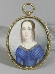 American School, 19th Century,  Miniature Portrait of a Young Lady.
