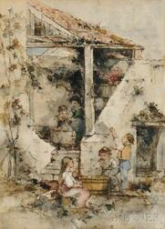 Émile Lessore (French, 1805-1876)      Children at Play in a Courtyard