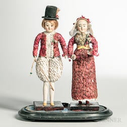 Pair of Red and White Shell Dolls in a Glass Dome
