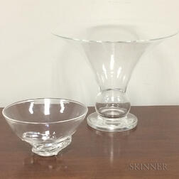 Two Steuben Colorless Glass Tableware