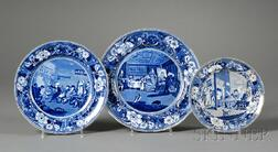 """Three Blue and White """"Dr. Syntax"""" Transfer-decorated Staffordshire Pottery Plates"""