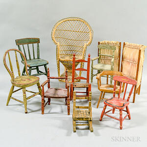 Nine Painted Wood and Wicker Doll's Chairs