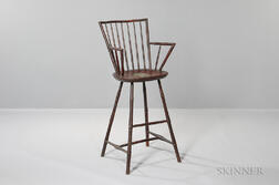 Tall Red-painted Bamboo-turned Rod-back Windsor Armchair