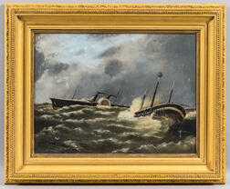F.B. Knox (British, b. 1893)      Paddlewheel Steamer and Sinking Ship in Rough Seas